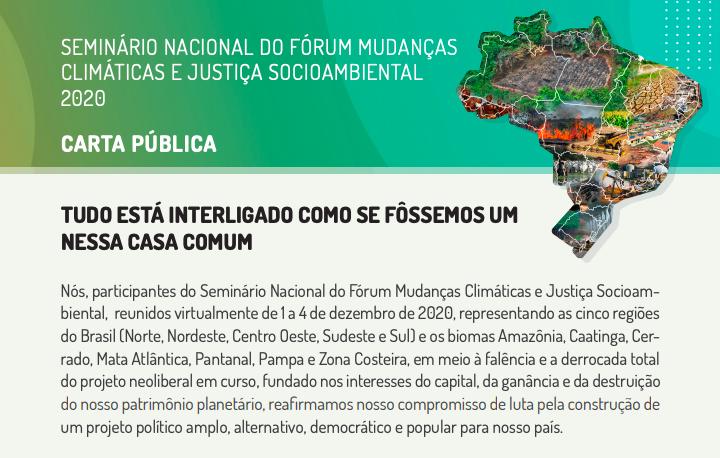 SEMINÁRIO NACIONAL DO FÓRUM MUDANÇAS CLIMÁTICAS E JUSTIÇA SOCIOAMBIENTAL 2020